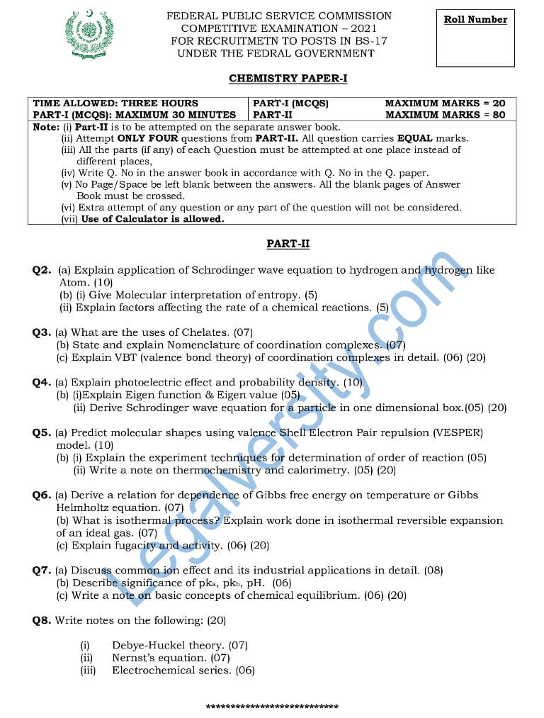 CSS Chemistry Paper-I 2021