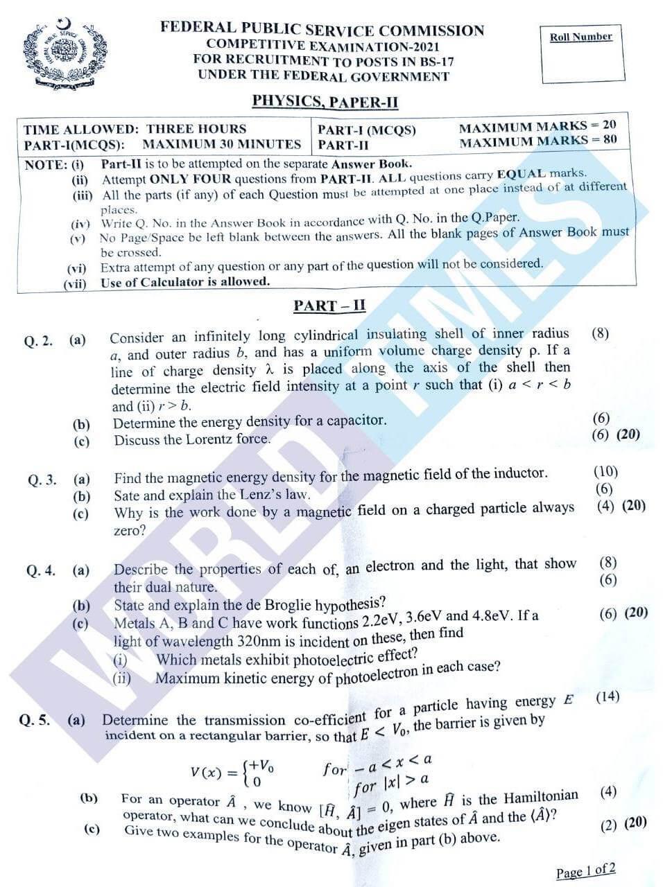 CSS Physics Paper-II 2021-1