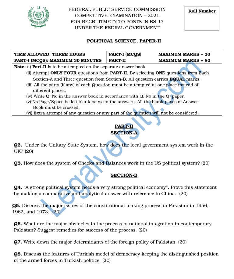 CSS Political Science Paper-II 2021